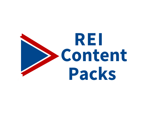 Logo for REI Content Packs of premade real estate investor blog posts and videos
